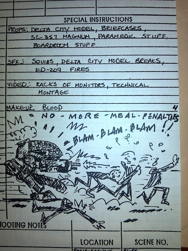 Robocop, call sheet, ED209, comics, verrando, texas production sound mixer