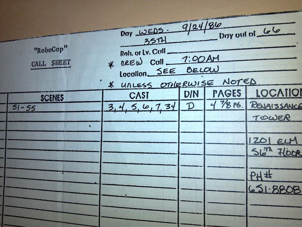 robocop, call sheet, verrando, texas location sound mixer